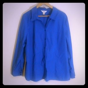 CJ Banks blue button front blouse top 3x